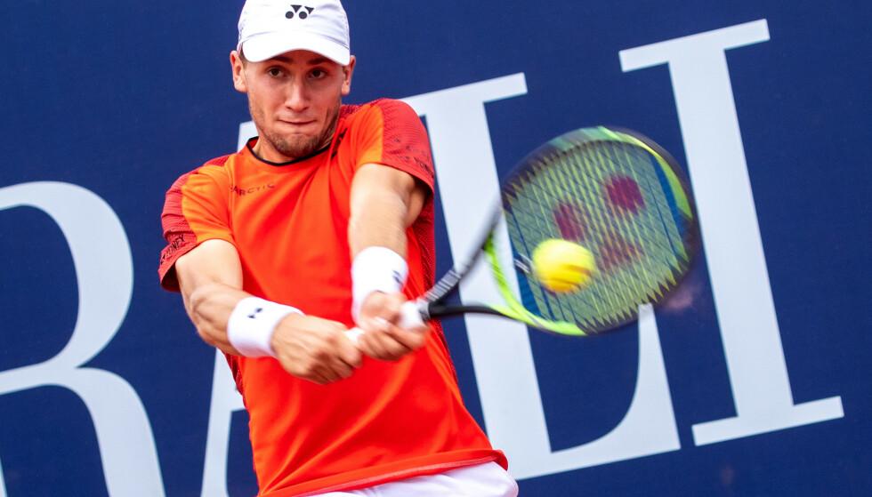 Casper Ruud har aldri vært bedre på ATP-rankingen enn nå. 56.-plass er karrierebeste. Foto: Johann Groder /APA / NTB scanpix