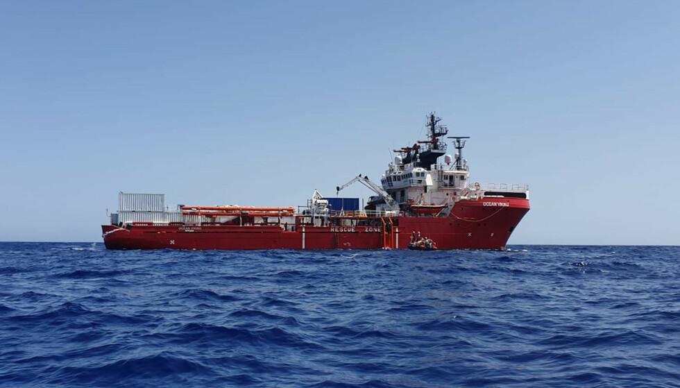 Ocean Viking i Middelhavet på et bilde tatt tidligere denne uka. Foto: SOS Mediterranee / AP / NTB scanpix