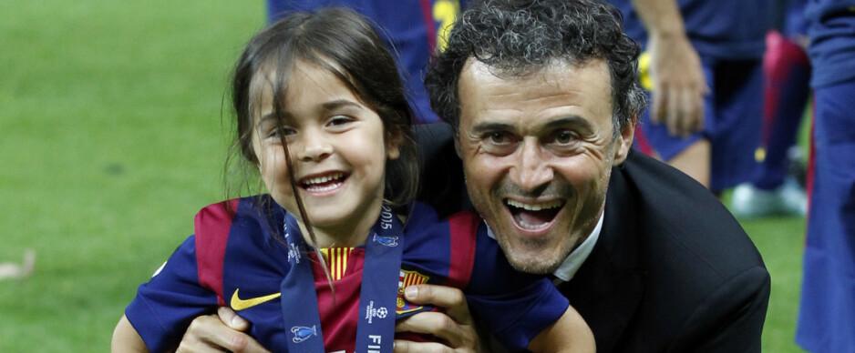 Luis Enrique med datteren Xana etter Champions League-finalen i 2015. Foto: Michael Probst / AP / NTB SCANPIX
