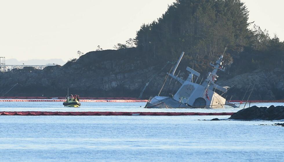 Den havarerte fregatten KNM Helge Ingstad ved Øygarden i Hordaland. Foto: Marit Hommedal / NTB scanpix