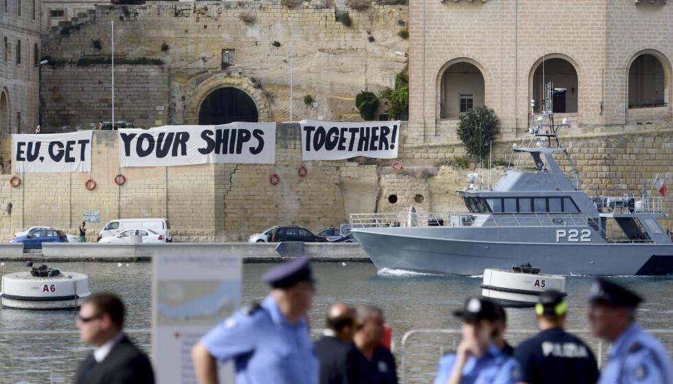 Etter et innenriksministermøte er det enighet om en mekanisme for å fordele flyktninger og migranter som kommer over Middelhavet. Foto: Jonathan Borg / AP / NTB scanpix