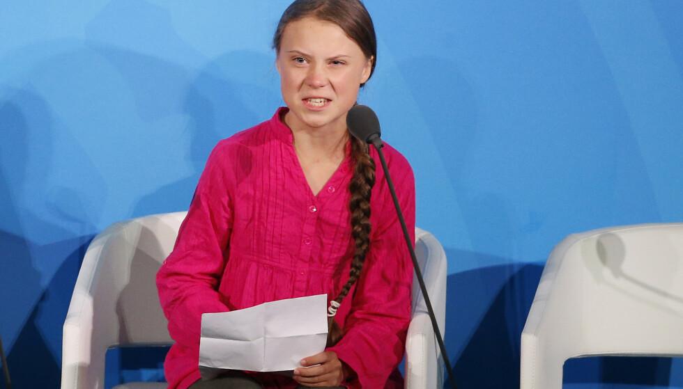 Greta Thunberg var tydelig opprørt da hun talte om klimasaken. Foto: Jason DeCrow / AP / NTB scanpix