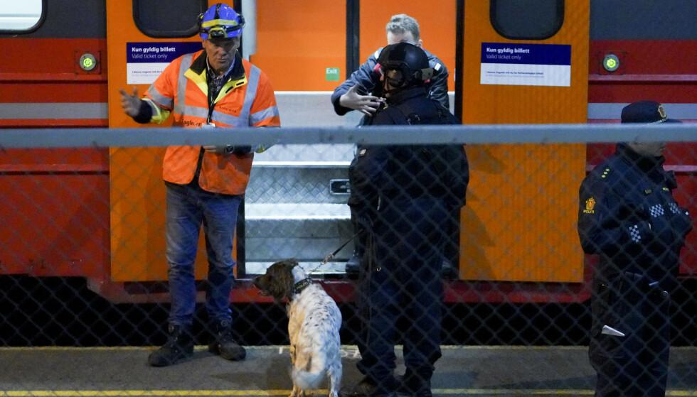Eksperter fra politiet ble torsdag kveld tilkalt etter at det ble funnet en mulig håndgranat inne i et togsett på Østfoldbanen. Foto: Fredrik Hagen / NTB scanpix