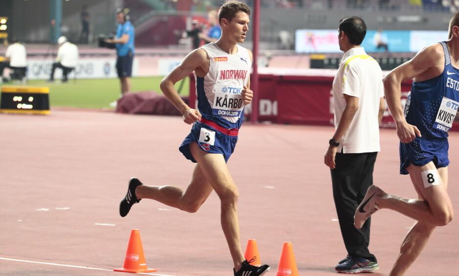 Tom Henning Kårbø ble nummer 11 i forsøksheatet på 3000 meter hindrer i friidretts-VM. Foto: Lise Åserud / NTB scanpix