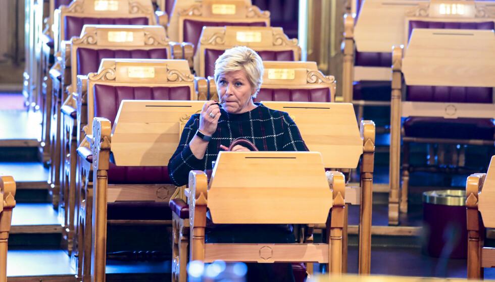Finansminister Siv Jensen (Frp) i Stortinget for fremleggelsen av regjeringens forslag til statsbudsjett for 2020. Foto: Håkon Mosvold Larsen / NTB scanpix