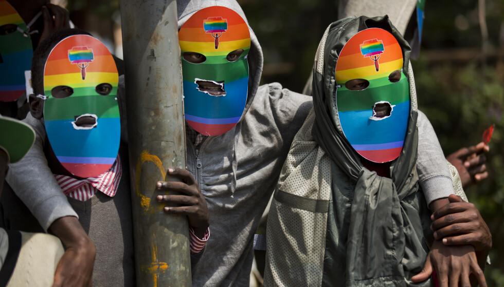 Kenyanske homofile i en demonstrasjon i 2014 til støtte for Uganda. Foto: NTB scanpix