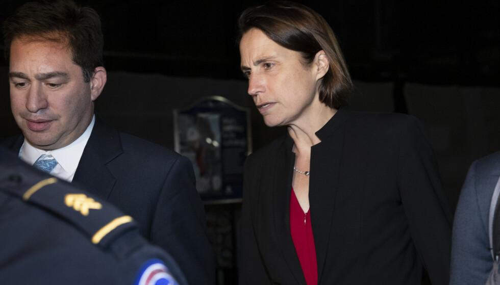 Tidligere rådgiver i Det hvite hus, Fiona Hill, vitnet om sterk splittelse i Det hvite hus om presset mot Ukraina. Foto: Manuel Balce Ceneta / AP / NTB scanpix