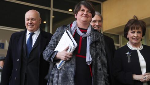 DUP-leder Arlene Foster er ikke fornøyd med det siste utkastet til brexitavtale. Foto: AP / NTB scanpix