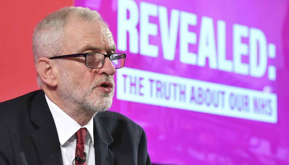 Labours partileder Jeremy Corbyn i London denne uken. Den britiske valgkampen er i innspurten foran torsdagens valg, og nok en gang er det kommet meldinger om at Russland forsøker å påvirke. Foto: Dominic Lipinski / PA via AP / NTB scanpix