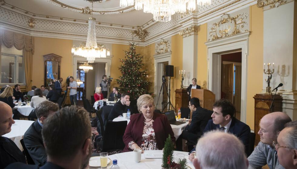 Statsminister Erna Solberg (H) under tirsdagens halvårlige pressekonferanse. Foto: Berit Roald / NTB scanpix