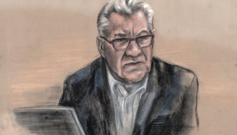 Svein Ludvigsen ble i Nord-Troms tingrett dømt til fem års fengsel. Foto: Tegning av rettstegner Ane Hem / NTB scanpix
