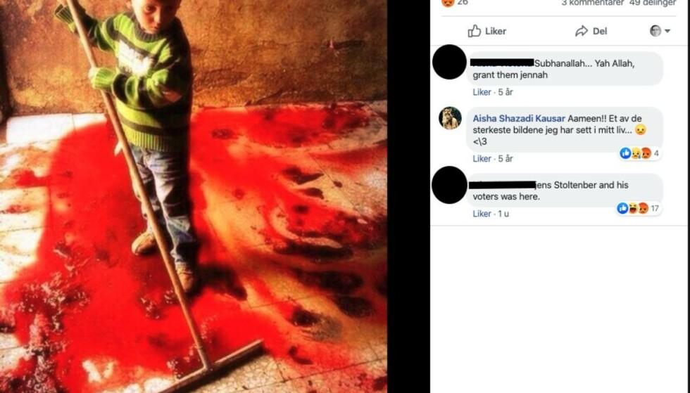 Bildet viser ikke et barn som vasker vekk blod etter en islamistisk halshogging, konkluderer Faktisk.no. Foto: Skjermbilde: Facebook