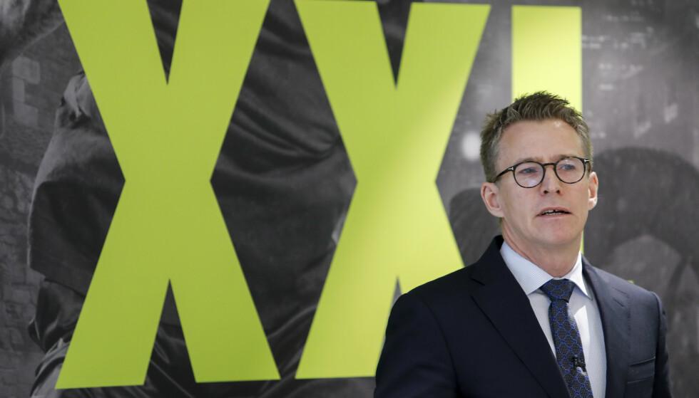 Styreleder Hugo Maurstad i XXL under kvartalspresentasjonen fredag morgen. Foto: Ole Berg-Rusten / NTB scanpix