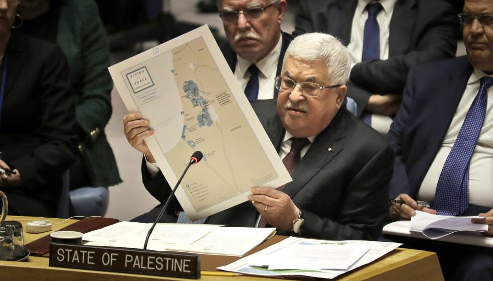 Palestinas president Mahmoud Abbas talte under et møte i FNs sikkerhetsråd tirsdag. Foto: Seth Wenig / AP / NTB scanpix