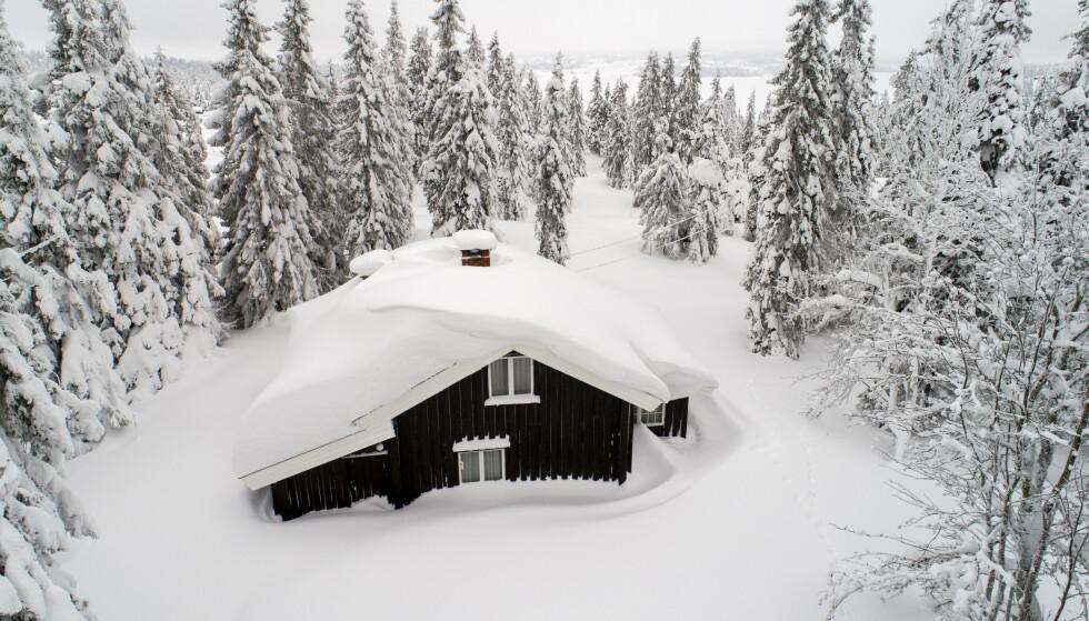 Dette bildet er fra en tidligere vinter. Men tung og våt snø venter de som skal tilbringe vinterferien på Sjusjøen i år. Hytteeiere bør vurdere hvor mye taket tåler. Foto: Tore Meek / NTB scanpix