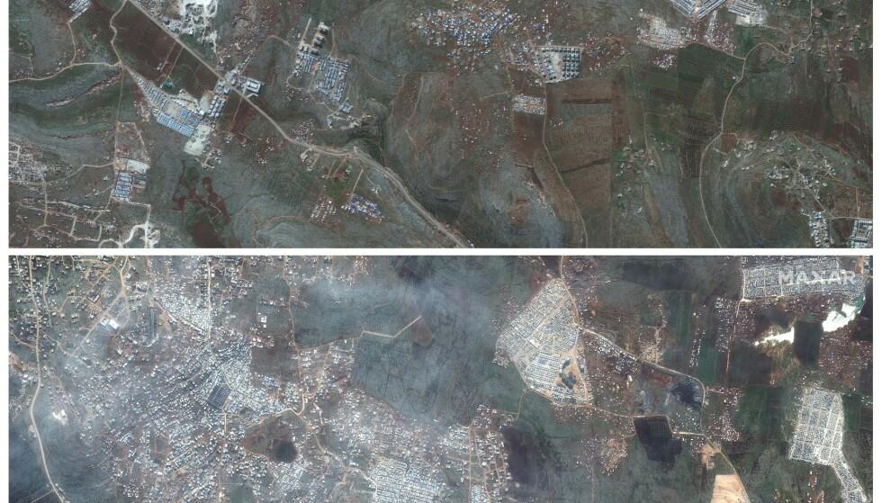 Satellittbilder fra Kafaldin i Idlib-provinsen i Syria viser hvordan stadig flere telt er blitt slått opp i området. Det øverste bildet ble tatt 5. februar 2019, mens det nederste ble tatt 16. februar i år. Foto: Maxar Technologies via AP / NTB scanpix