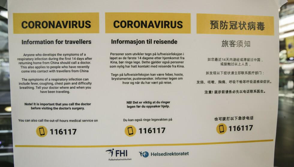 Helsedirektoratet har åpnet en virus-informasjonstelefon for spørsmål om coronavirus. Nummeret er 815 55 015. Nummeret til legevakt er 116117. Foto: Vidar Ruud / NTB scanpix
