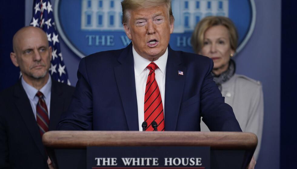 President Donald Trump under en pressekonferanse torsdag. Foto: AP / Evan Vucci / NTB scanpix