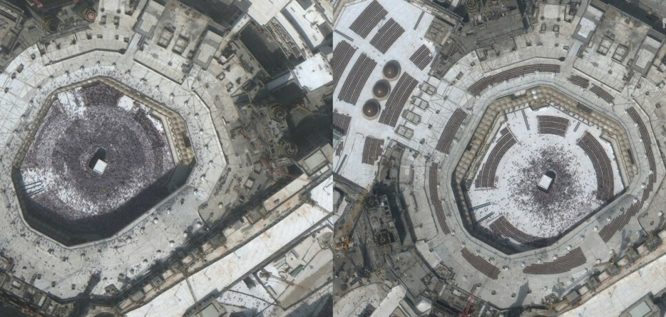 Al-Haram-moskeen (Mekka, Saudi-Arabia) med Kaba i midten, fotografert 14. februar og 3. mars 2020. Foto: Maxar