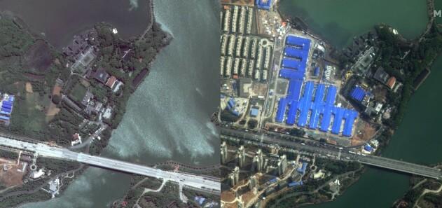 Byggingen av et sykehus i Wuhan. Bildet til venstre er tatt 28. april 2017. Bildet til høyre er tatt 22. februar 2020. Sykehuset skal ha blitt ferdigstilt i løpet av ti dager. Foto: Maxar