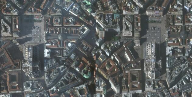 Milano sett fra oven. Bildet til venstre er tatt 22. januar 2020. Bildet til høyre er tatt 4. mars 2020. Foto: Maxar