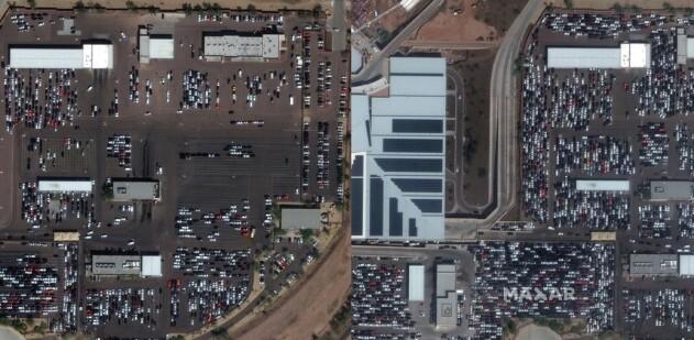 Ubrukte leiebiler på en parkeringsplass ved Phoenix´ Sky Harbour i USA. Bildet til venstre er tatt 5. mars. Bildet til høyre er tatt 16. mars 2020. Foto: Maxar