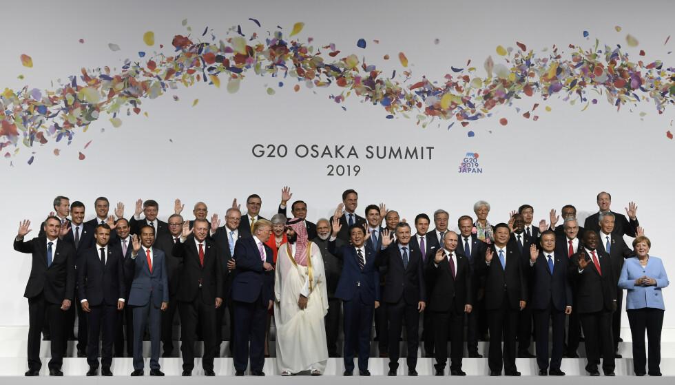 I fjor sommer møttes G20-gruppen i japanske Osaka. Torsdag denne uken holdt de en videokonferanse om koronapandemien. Arkivfoto: Susan Walsh / AP / NTB scanpix