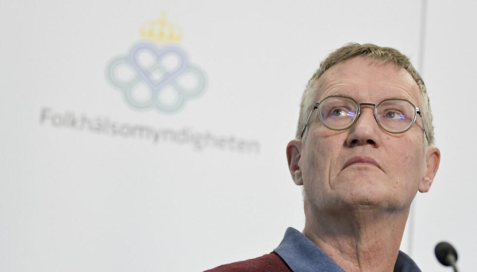 Statsepidemiolog Anders Tegnell presenterte nye smittetall under onsdagens pressebrif med Folkhälsomyndigheten. Foto: Janerik Henriksson / TT / NTB scanpix