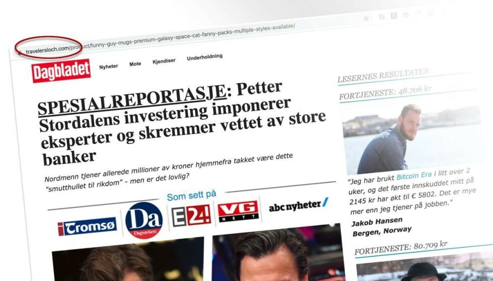 Falske nyhetsartikler om kjente nordmenn spres på nett. Foto: Skjermdump