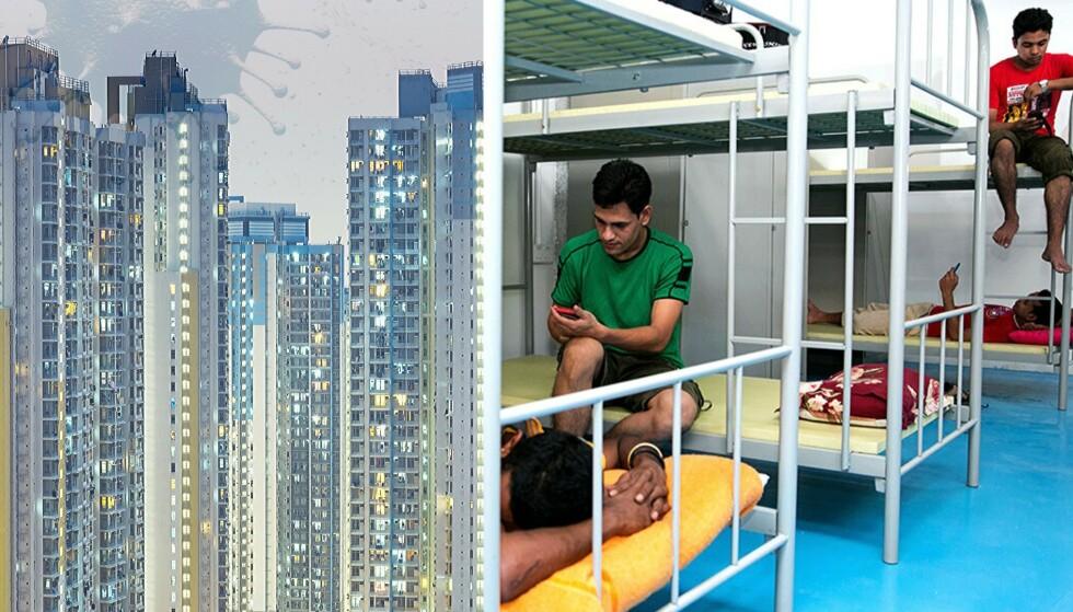 Til venstre: Folk bor tett i Hongkongs skyskrapere. Til høyre: Slik ser det ut på et rom i «S11» i Singapore, ifølge nettsidene til et av selskapene som tilbyr overnatting til gjestearbeidere. Foto: S11 DORMITORIES