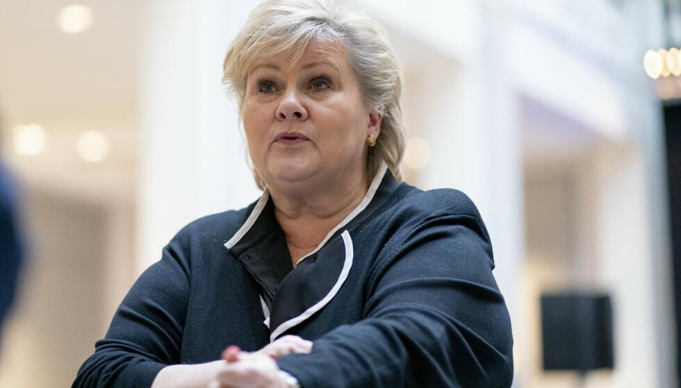 Oslo 20200424.  Statsminister Erna Solberg under den daglige oppdatering om koronavirus-situasjonen. Foto: Fredrik Hagen / NTB scanpix