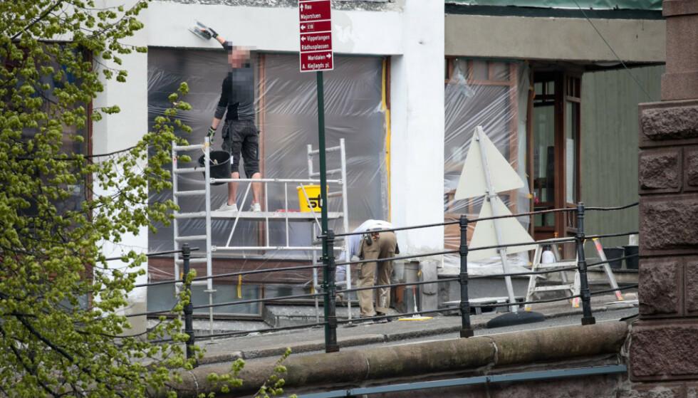 Fasaden på Venstres Hus ved Youngstorget i Oslo ble pusset opp på 1. mai. Foto: Lise Åserud / NTB scanpix