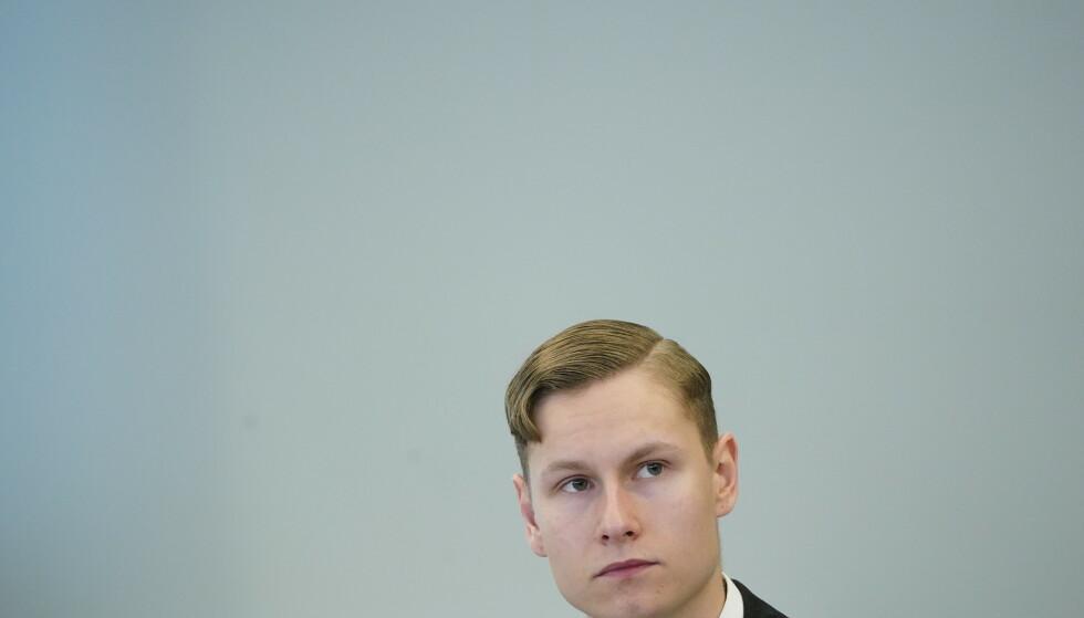 Terror- og drapstiltalte Philip Manshaus fikk onsdag høre at aktor la ned påstand om 21 års forvaring i Asker og Bærum tingrett. Foto: Lise Åserud / NTB scanpix