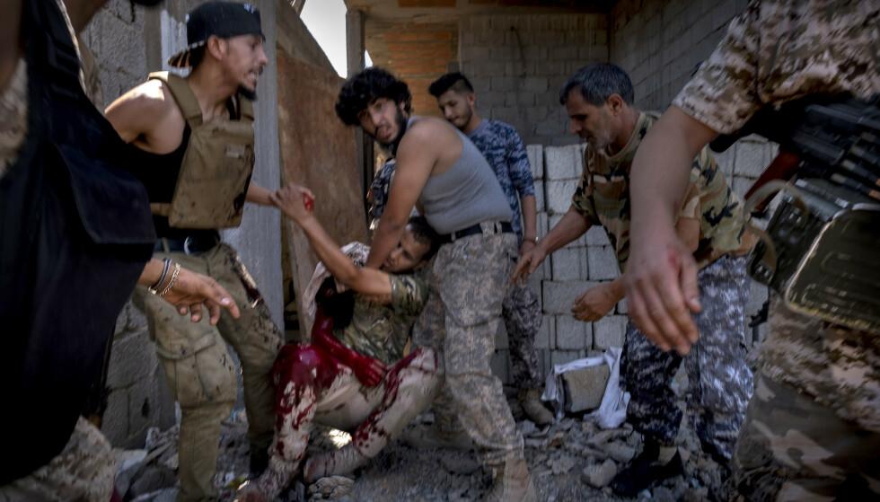 En dødelig såret soldat fra en FN-alliert styrke i Libya i 2019. Foto: NTB scanpix