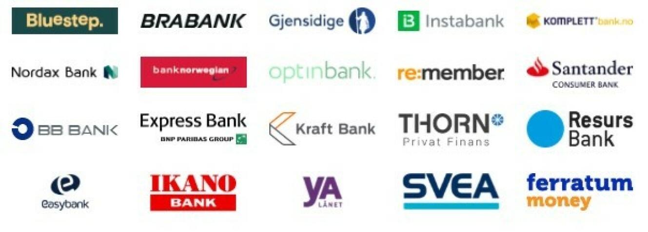 Axo Finans jobber med disse 20 bankene