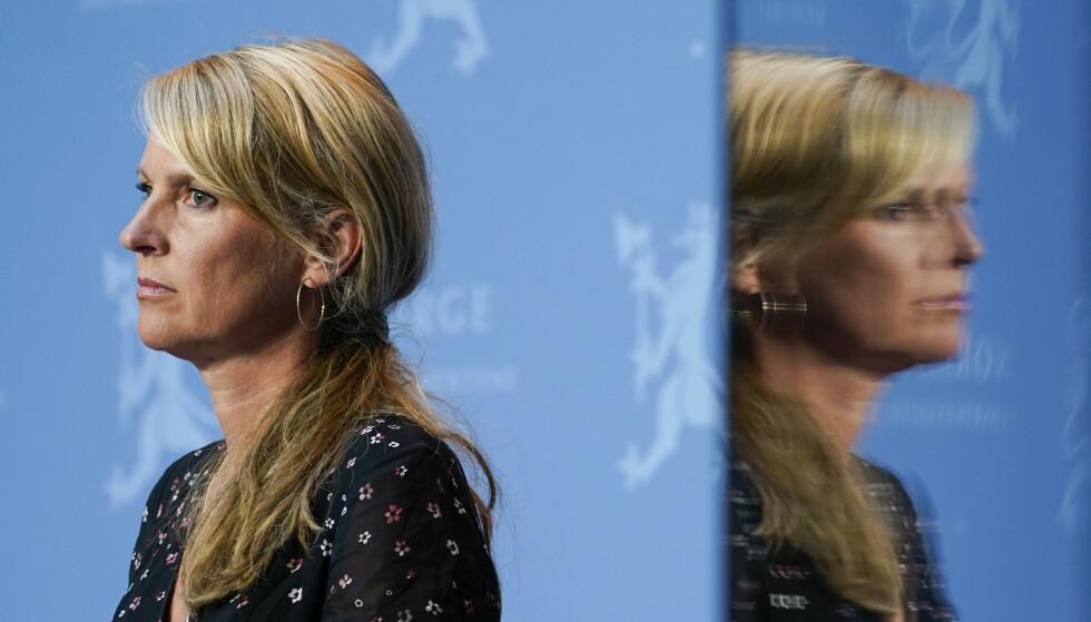 Oslo 20200731.  Avdelingsdirektr i Folkehelseinstituttet Line Vold under regjerings pressekonferanse om koronasituasjonen i Oslo. Foto: Lise serud / NTB scanpix