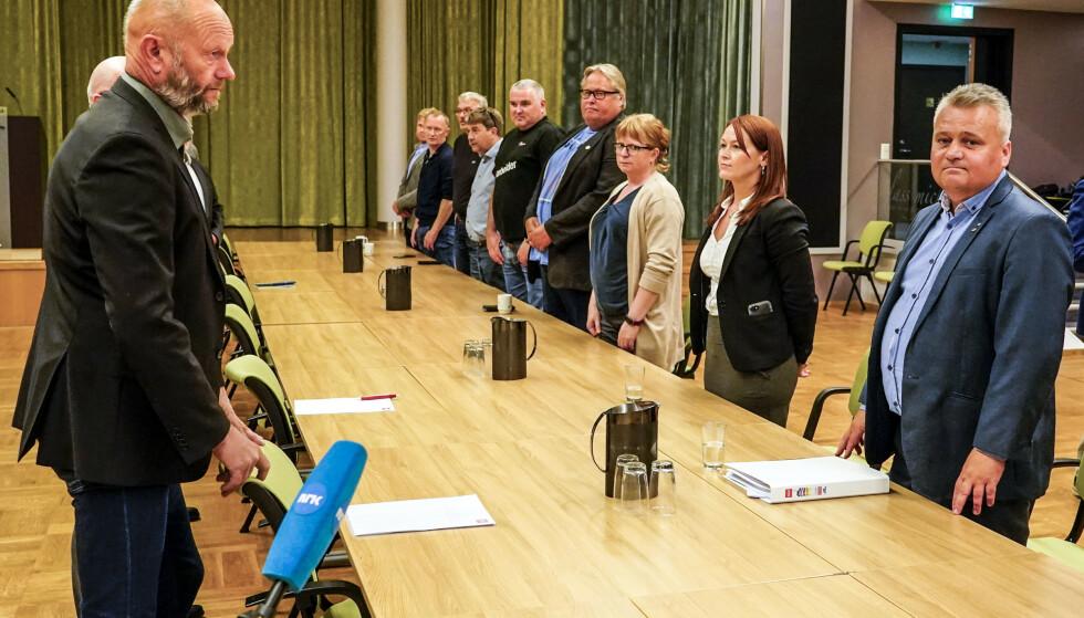 Norsk Industris leder Stein Lier Hansen (t.v.) og Fellesforbundets leder Jørn Eggum gjenopptok mandag forhandlingene i frontfaget. Kort tid etter ble det brudd i forhandlingene. Foto: Lise Åserud /NTB Scanpix