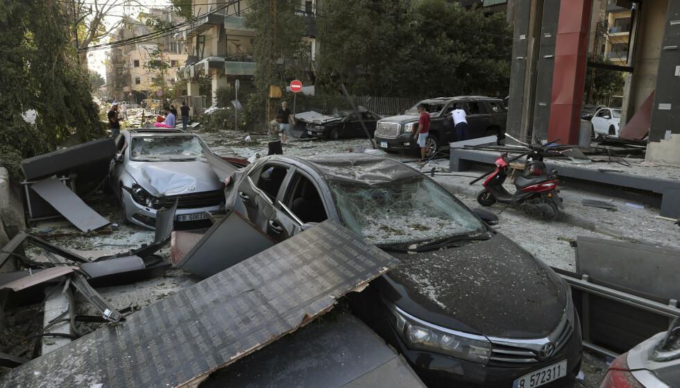 De materielle ødeleggelsene etter tirsdagens eksplosjon i Beirut er svært store. Foto: AP / NTB scanpix