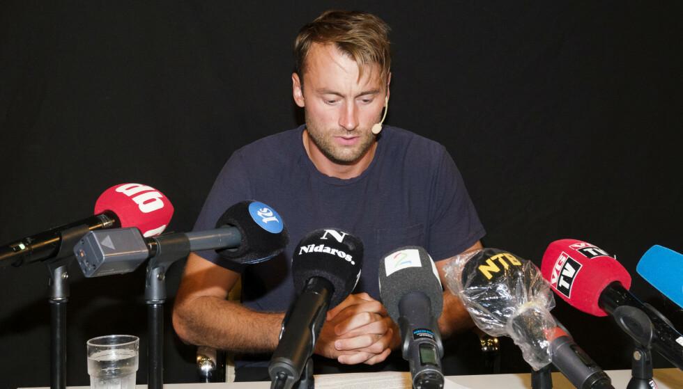 Petter Northug under pressekonferansen i Trondheim fredag. Foto: Ned Alley / NTB scanpix