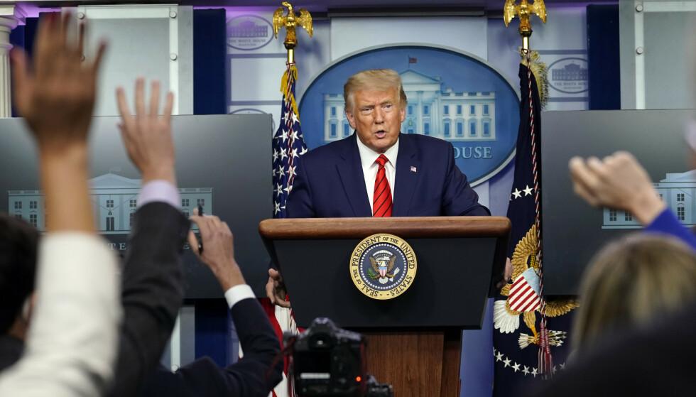 President Donald Trump under en pressekonferanse i Det hvite hus mandag. Foto: Andrew Harnik / AP / NTB scanpix