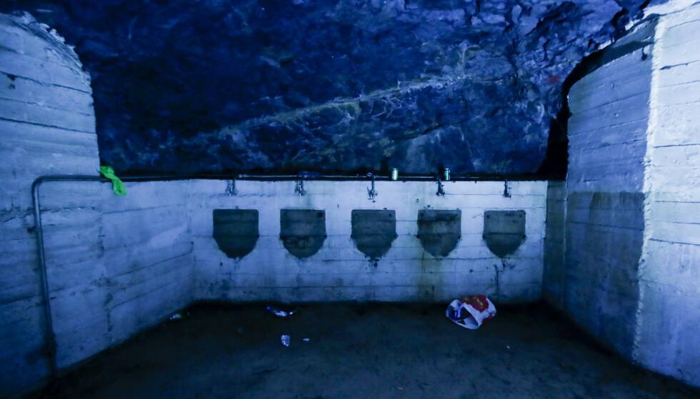 Tegning av bunkeren inne i fjellet på St. Hanshaugen som ble brukt som festlokale natt til søndag. Åpningen som ble brukt, er den som er merket øverst til høyre på bildet. Foto: Stiftelsen Diakonissehuset Lovisenberg / NTB scanpix