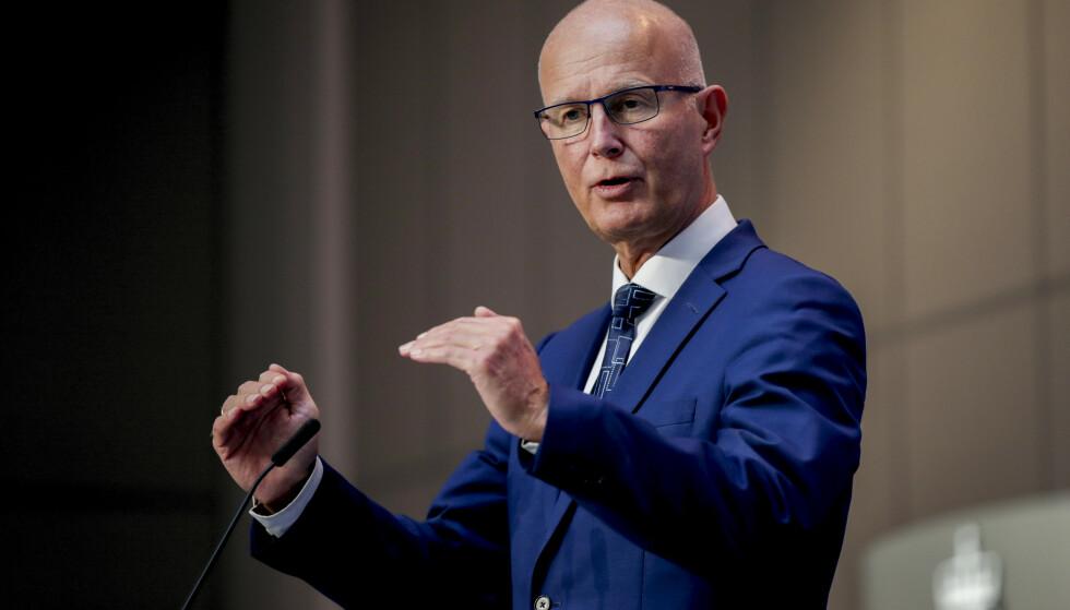 Helsedirektør Bjørn Guldvog på pressemøte om koronasituasjonen. Foto: Vidar Ruud / NTB scanpix