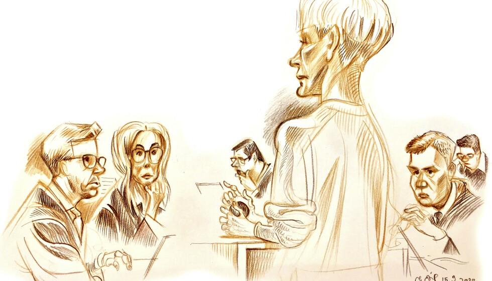 Tegning av Laila Anita Bertheussen som forklare sg i Oslo tingrett. I bakgrunnen f.v. sitter aktor Frederik Ranke, statsadvokat Marit Formo, forsvarer John Christian Elden, medforsvarer Bernt Heiberg og bistandsadvokat Ellen Holager Andens. Tegning: Egil Nyhus / NTB