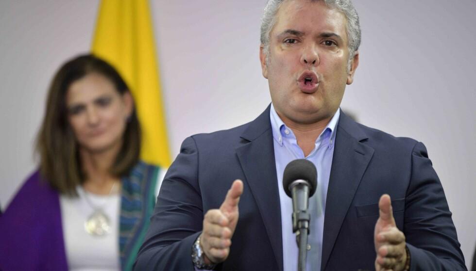 Høyreorienterte Ivan Duque er en omstridt president i Colombia. Foto: NTB scanpix / Raul ARBOLEDA / AFP