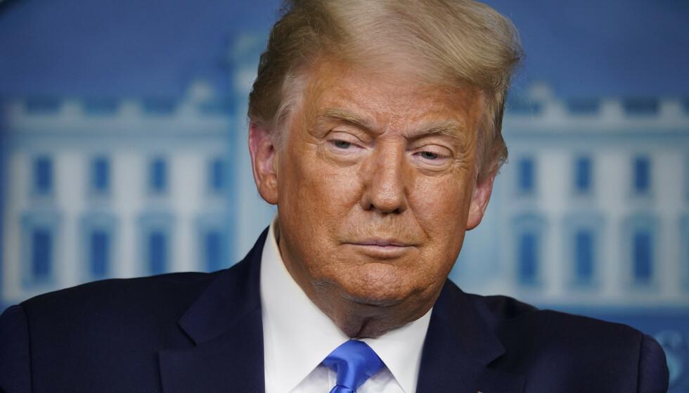 President Donald Trump under onsdagens pressekonferanse. Foto: Evan Vucci / AP / NTB scanpix