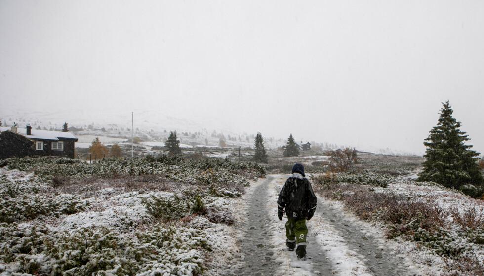 Meteorologen advarer sjåfører som skal over fjellet denne helgen. Kaldt på snaue 1000 meters høyde i Gravdalen på Kvamsfjellet i Gudbrandsdalen. Foto: Paul Kleiven / NTB