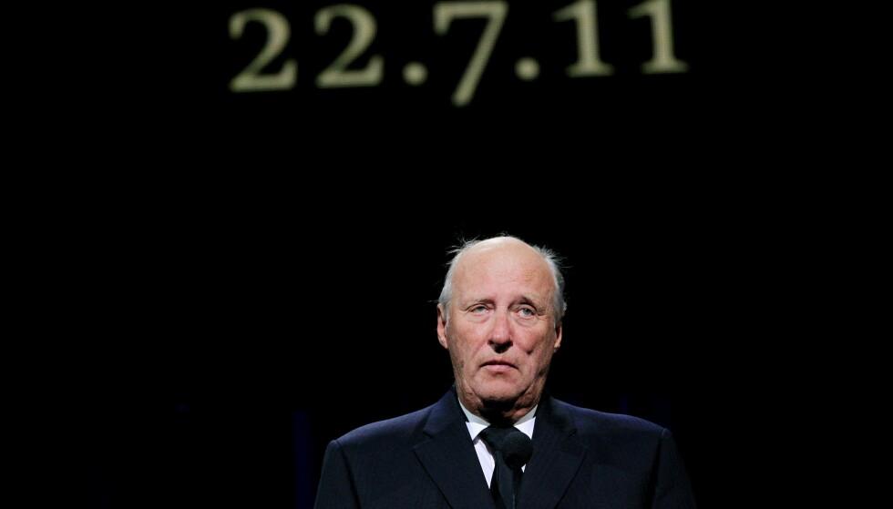 Kong Harald holder tale under den nasjonale minneseremonien etter terrorangrepene i Oslo. Foto: Cornelius Poppe / NTB