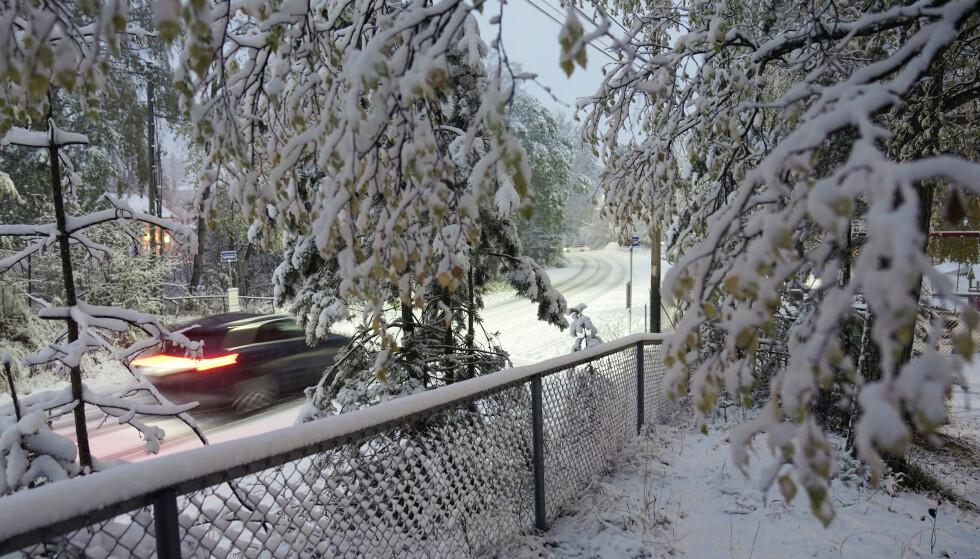 Snøfallet har skapt mest problemer nord for Oslo. Her fra Nittedal tirsdag morgen. Foto: Stian Lysberg Solum / NTB