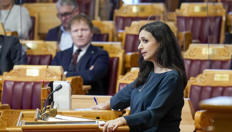 Hadia Tajik (Ap) under Spørretimen i Stortinget onsdag. Foto: Håkon Mosvold Larsen / NTB