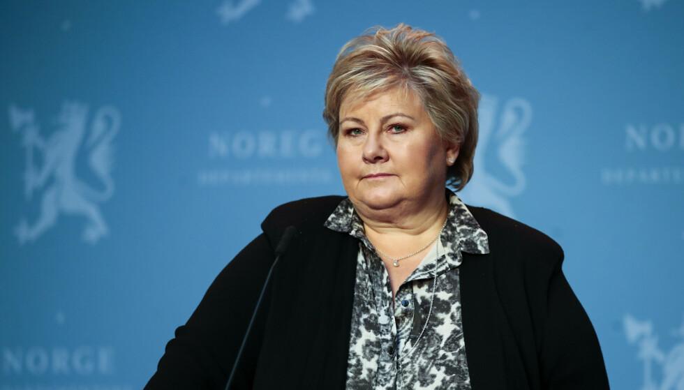 Statsminister Erna Solberg under en pressekonferanse der regjeringen presenterer den nye samfunnssikkerhetsmelding og langtidsplanen for Forsvaret. Foto: Jil Yngland / NTB